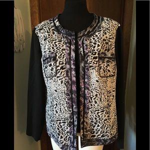 Chicos Animal Print Jacket Size 2 Large